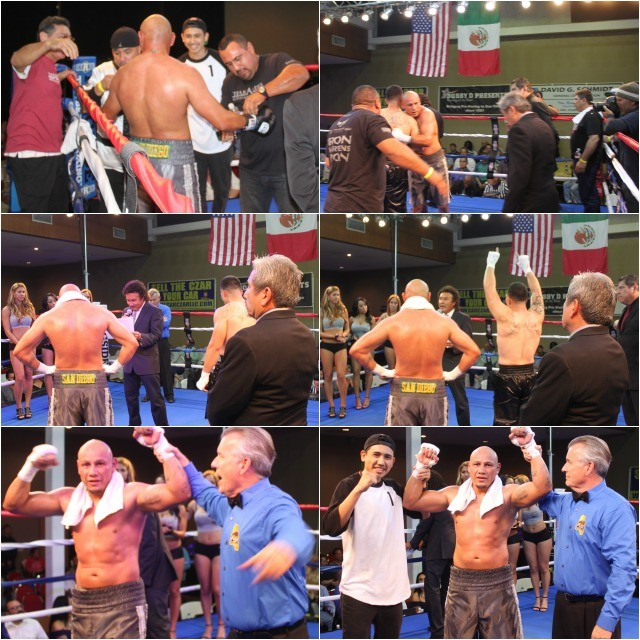 """In the battle of attrition, San Diego's Ernesto """"Chato"""" Martinez, a boxing instructor at The Arena in Point Loma, outshines Jose Alvarez."""