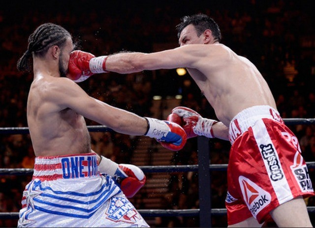 In the closing round, we see Guerrero smooshing Keith Thurman's face. Photo: Harry How/Getty Images