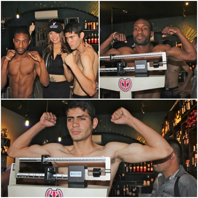 (top, left) Mike Haygood (l) and Miguel Zapata (r) pose for photos at Thursday's weigh-ins.