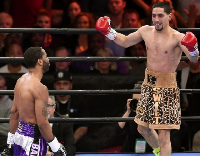 At the conclusion of his bout with Lamont Peterson, Philadelphia's Danny 'Swift' Garcia looks to be celebrating his victory.
