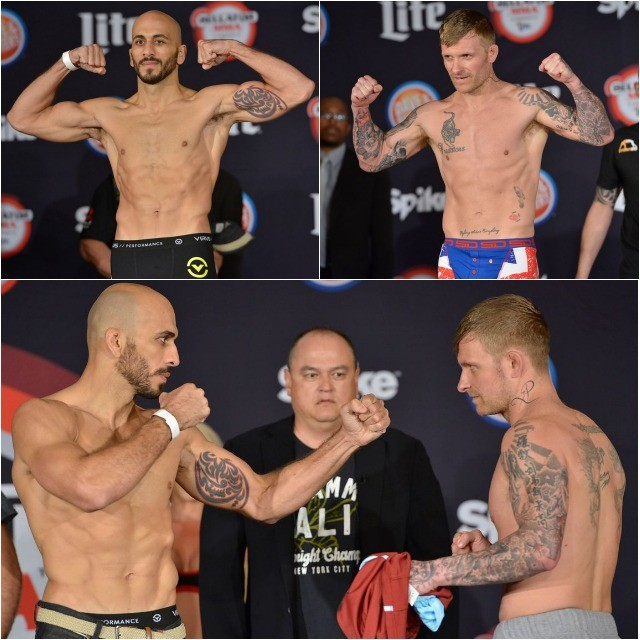Weigh-in results (l to r): Saad Awad (155.4 pounds) vs. Rob Sinclair (155.2 pounds)