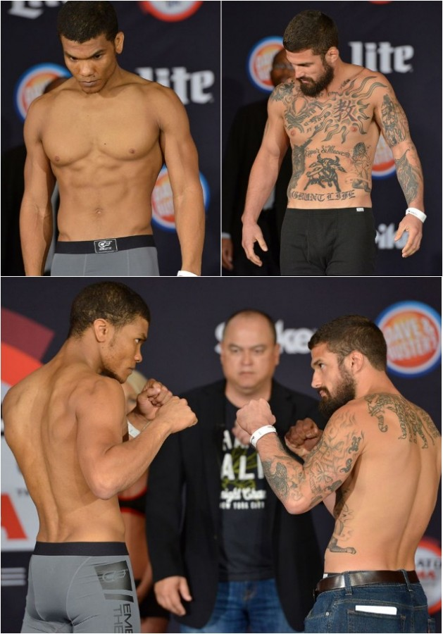Weigh-in results (l to r): Jay Bogan (146.6 pounds) vs. Justin Governale (146 pounds)