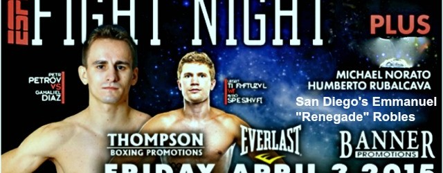 "On the latest ESPN Friday Night Fights we have several great match-ups to include the Emmanuel Robles versus Wilberth Lopez and what could turn out to be the upset of the night, Gamaliel ""El Plátano"" Diaz taking on Petr ""The Zar"" Petrov."