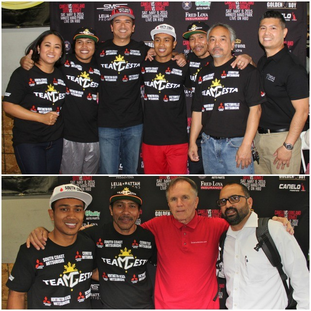 "Everyone wanted a photo with Mercito ""No Mercy"" Gesta to include his long time backers. (bottom, l to r) Mercito gesta, Gesta, your humble reporter and Felipe Leon from Fight News. All photos: Jim Wyatt"