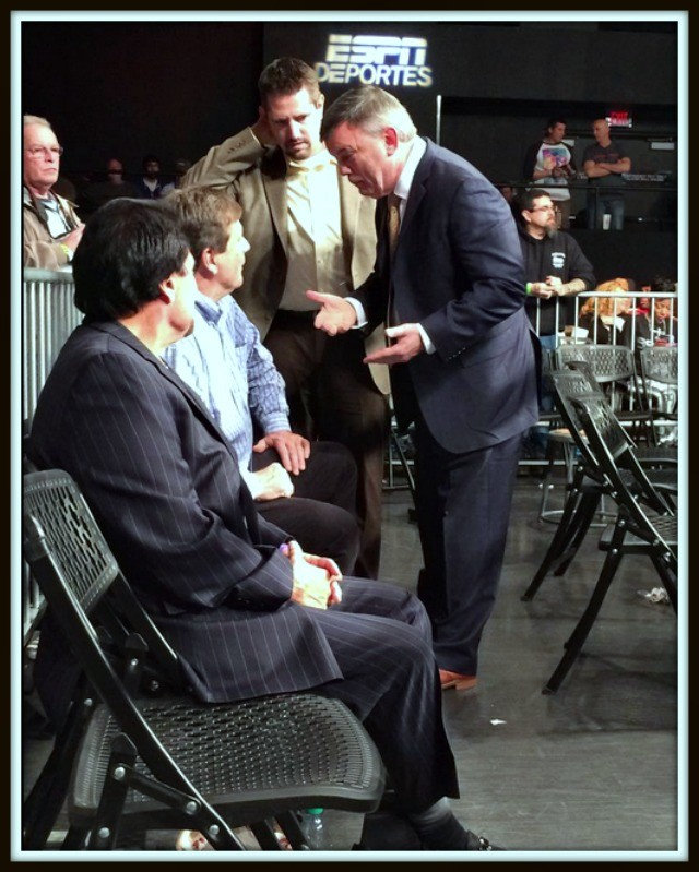 While waiting for the show to begin Bobby DePhilippis, Brandon Adams' manager, listens in on the tall tales of Teddy Atlas.