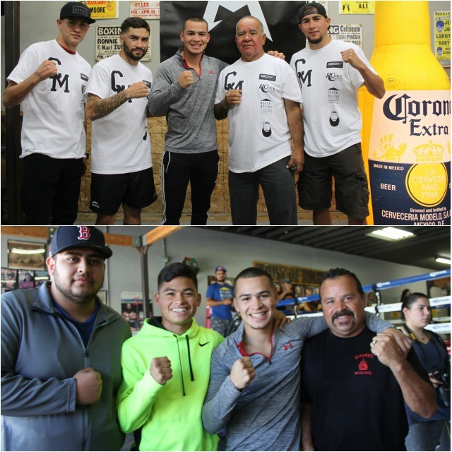 (top) The Molina family joins USA Amateur Boxing champion Genaro Gamez for a photo.