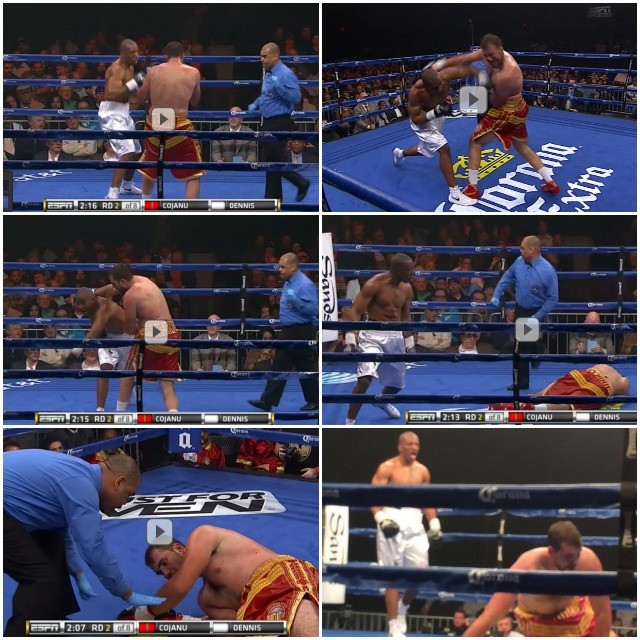 The Razvan Cojanu knockdown The big guy got careless and Donovan Dennis made him pay by delivering the big overhand left to Razvan Cojanu's chin.