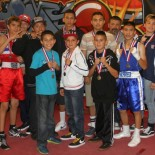 During intermission, the new president of the LBC44, Hondo Fontane (l) was joined in the ring by 11 of the boxers advancing to the Junior Olympic Regionals in Reno, Nevada. Congratulations to all 13 of our LBC 44 Boxers. Front: Juan Medina Jr. (Bound Boxing Academy), Julius Ballo (Unattached), Diego Luna (Bound Boxing Academy), Alfred Vargas (Unattached), Rear:  Jose Cholet (National City CYAC), Jabin Cholet (National City CYAC),  Emanuel Contreras (CYAC), Jose Meza (Bound Boxing Academy), Eric Puente (Max Impact), a coach from National City CYAC represented Jasmine Hernandez), Andrea Medina (Bound Boxing Academy) and Jessica Juarez (Unattached) and not present Carlos Sanchez (Alliance Training Center). Photo: J. Wyatt