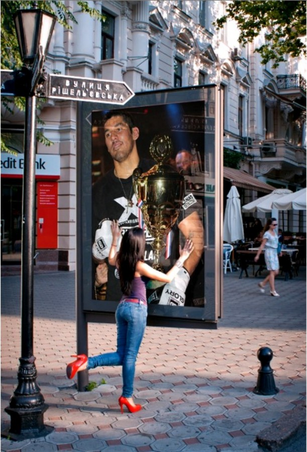 On a street in Europe we see this extra large poster of the victorious heavyweight Xavier Vigney. Photo: Jim Wyatt poster