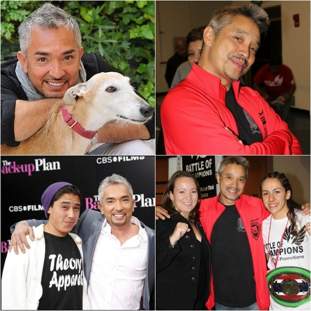 We cross paths with another lookalike: On the left, Cesar Millan, the dog whisperer and on the right one Molly Alvarez's trainer, David Huey who is the co-owner and general manager of the Muay Thai America Gym in North Hollywood. If we darken his eyebrows and thin out his mustache, we have a close match.