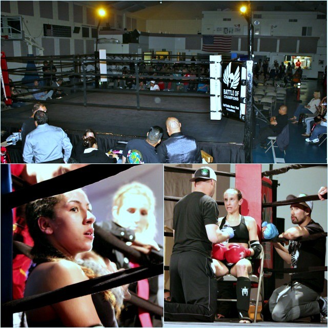 "In the Blue corner you had 19 year-old Magalie ""Molly"" Alvarez (4-0) from the Muay Thai America Gym in North Hollywood, Calif. who is trained by David Huey and in the red corner you had 29 year old Ashley Acord"