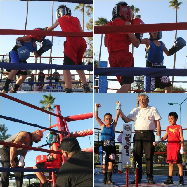(bottom right, left to right) The winner of Bout #1, Brandon Angviano, referee Will White and