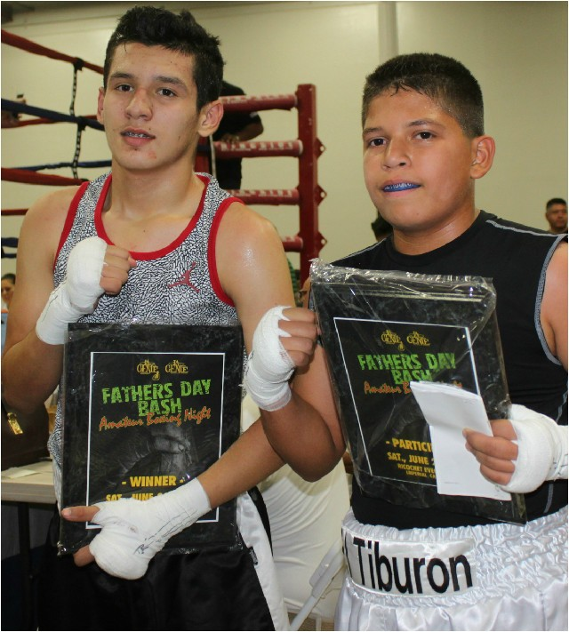 "Santiago Renteria from the San Luis PAL Boxing Club (133.6 pounds) securing the victory over 13 year-old Jacob ""El Tiburon"" Valenzuela"
