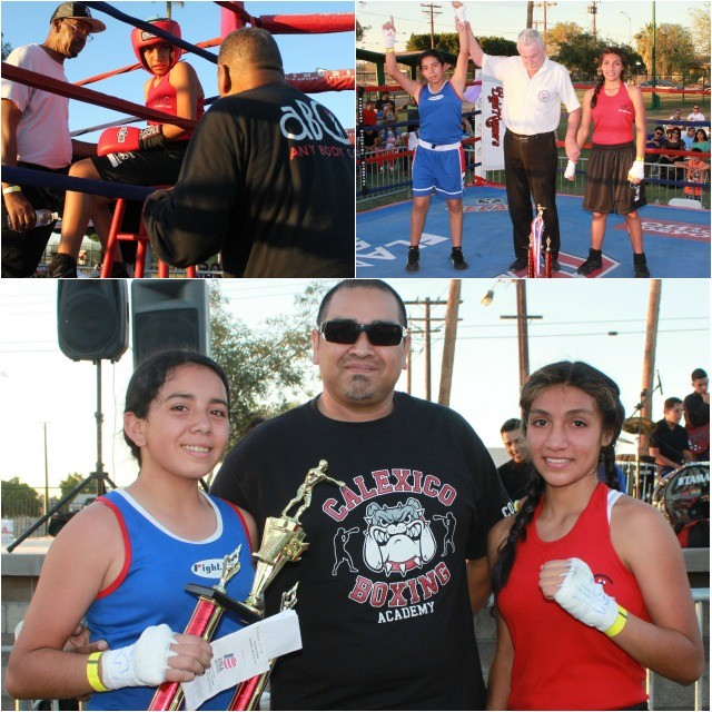 At the conclusion of their bout, both the victorious Roxana Ortiz (l) and her opponent Lizzette Corvales were joined by their coaches rear, Billy Moore of the ABC Mongoose Gym in San Diego and of the Calexico Boxing Academy.