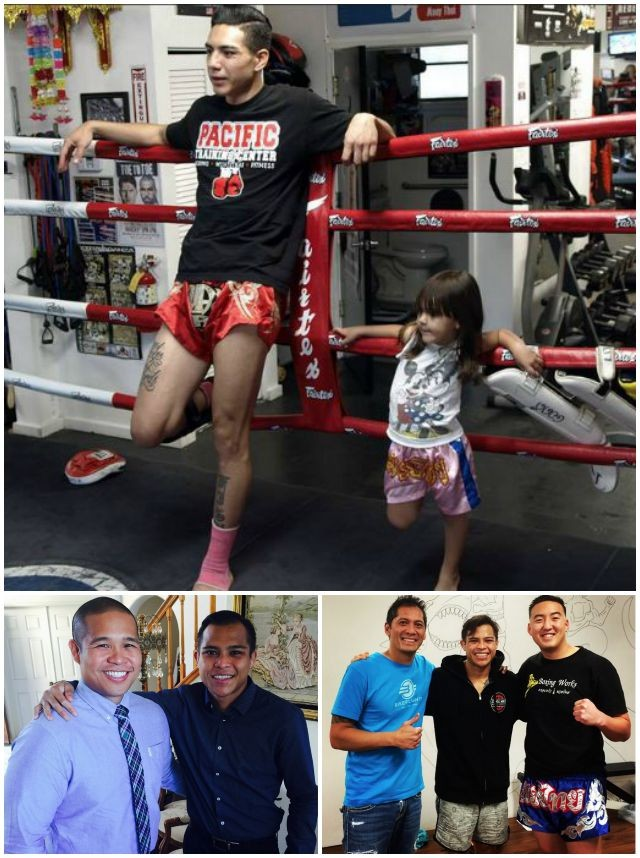 Two great guys, Tony Fausto (above) leaning against the ropes with his precious daughter and Marvin Madariaga (below) posing for photos, first with his brother Laurence and then two of the coaches instrumental in his success.