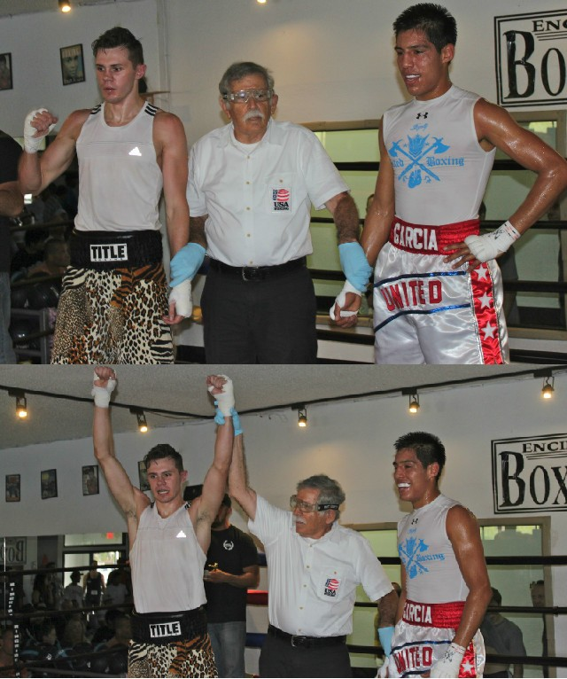 (photo bottom) In Bout #1, it was Nicholas Cortez coming away with the victory over Brayan Garcia.