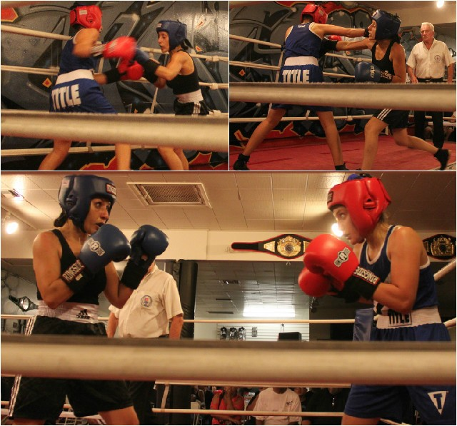 (bottom, l to r) Bout #9 was and all out war between Andrea Iniquez of the ABC Mongoose Gym and Jazmin Valverde of Romo's Boxing.