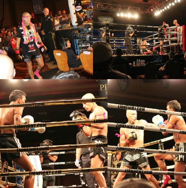 (top, left) the much feared and celebrated Kevin Ross makes his entrance. (below) Ross wasted little time and went right to work to gain control of the fight.