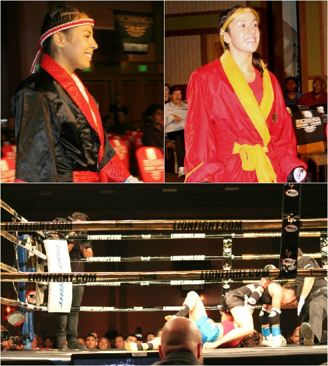 Fanny Tommasino of One Kick Gym and Magali Alvarez of Muay Thai America make their ring entrance.
