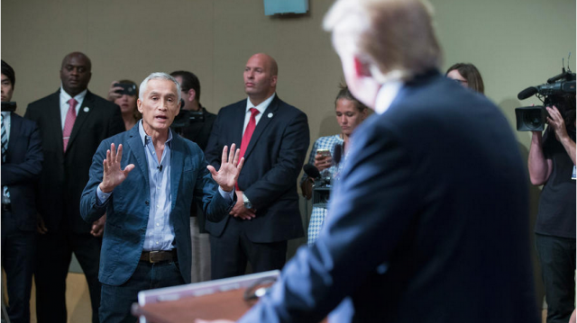 Republican presidential candidate Donald Trump fields a question from Univision and Fusion anchor Jorge Ramos during a news conference held before his campaign event in Dubuque, Iowa. Earlier in the news conference Trump had Ramos removed from the room after he failed to yield when Trump wanted to take a question from a different reporter. (Scott Olson / Getty Images)