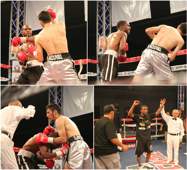 At the conclusion of Bout #1, we see Mike Haigood having his arm raised in victory by referee Juan Manule Morales Lee.