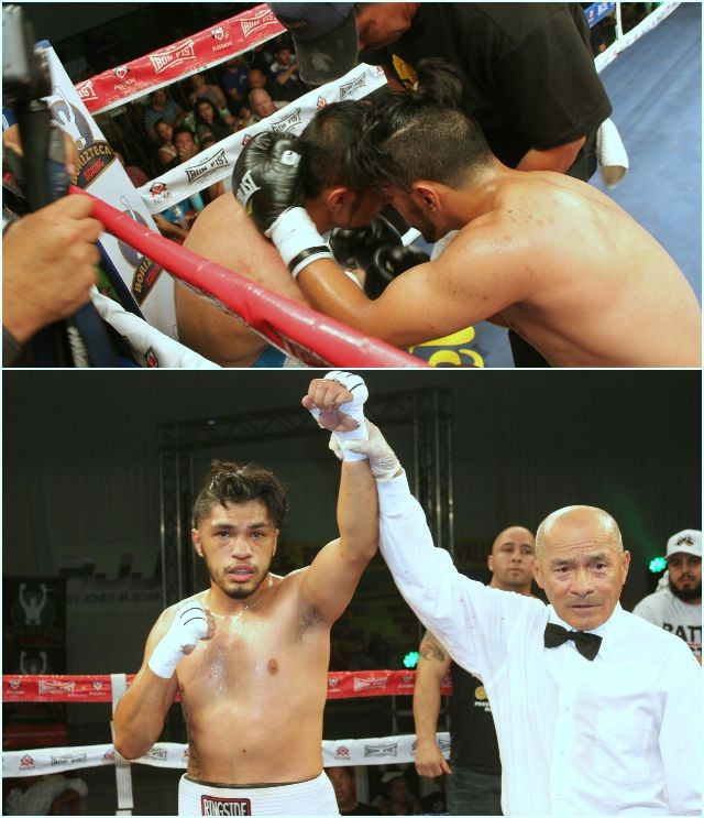 (top) Trujillo consoles his opponent Alejandro Nunez who during their contest got battered repeatedly. (bottom) At the conclusion of Bout #3, referee Juan Manuel Morales Lee (r) raises the arm of the victorious Jesus Trujillo (l) from Torrance, Calif.