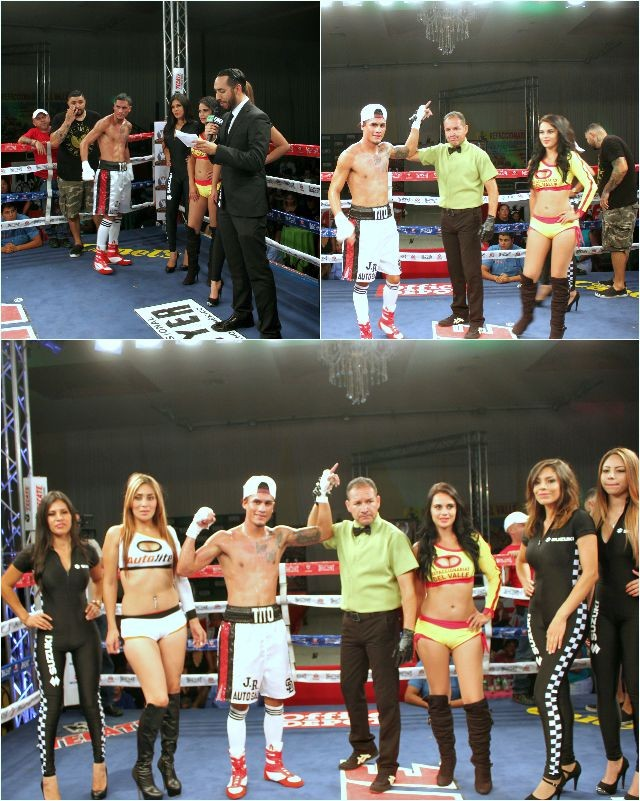 "At the conclusion of Bout #6, we see San Diego's Jorge ""Tito"" Ruiz Jr., surrounded by the lovely ring card girls, having his arm raised in victory. Photo: J. Wyatt"