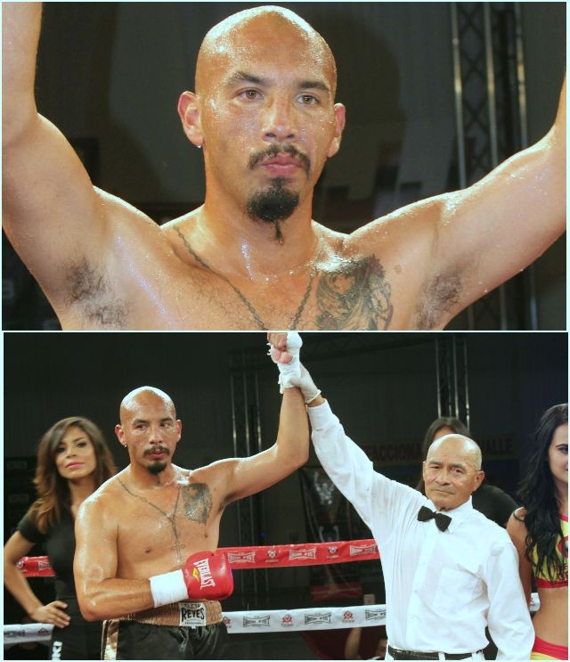 (bottom) At the conclusion of Bout #3, referee Juan Manuel Morales Lee raises the arm of the victorious George Escalante.