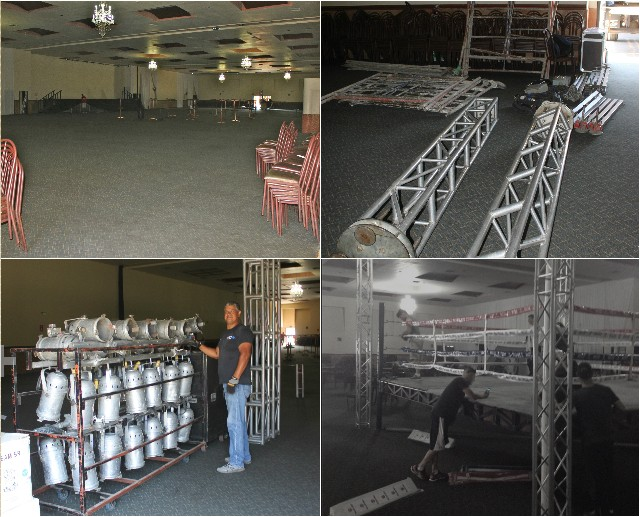 This week, the workers at the Salon Mezzanine in Tijuana were commissioned to transform their 2,200 seat Grand Ballroom into a showplace for boxing and that they did.