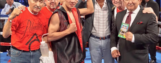 San Diego's Antonio Orozco (center) is now a full fledged mega star after defeating the three time World Champion Humberto Soto on Saturday night at the Stub Hub Center in Carson, Calif. (l to r) Carlos Barragan Sr., Carlos Barragan Jr., Antonio Orozco, the legendary Bernard Hopkins, and Frank Espinoza.