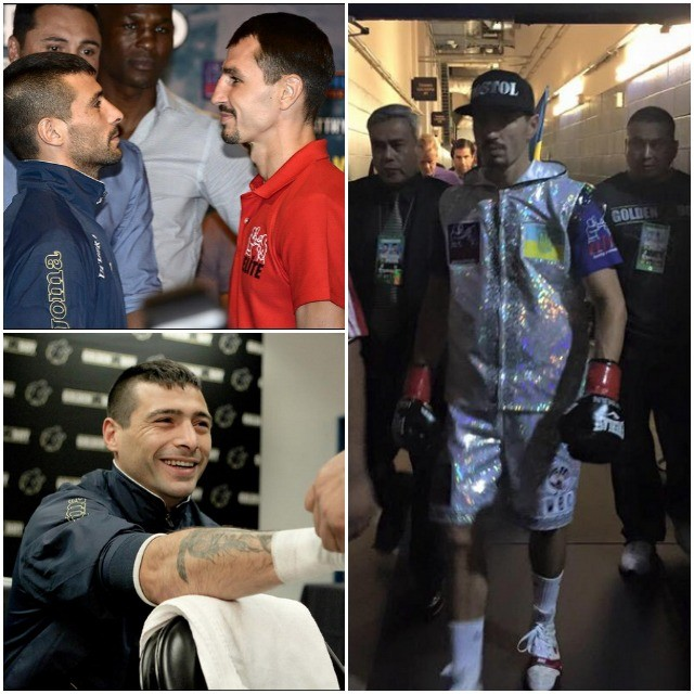 (top, left) At one of the many Press Conferences, Lucas Matthysse (l) faces off with his opponent Viktor Postol.