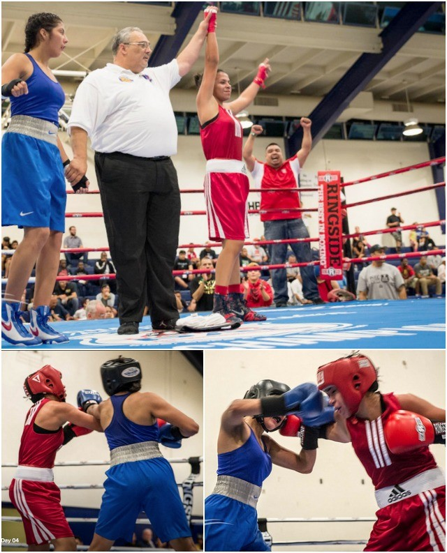 """Can't forget the young ladies - here we see San Diego's Jessica Juarez having her arm raised in victory after defeating the very tough Jessica """"Triple J"""" Juarez dominated in her victory over Diana Estrada."""