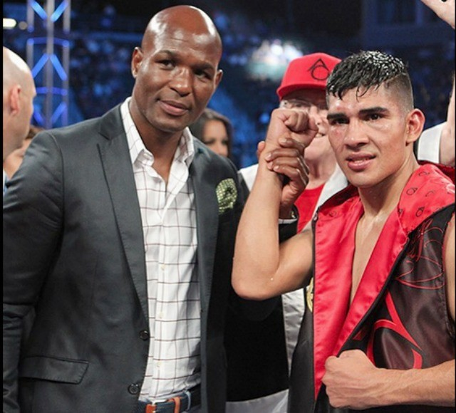 At the conclusion of their fight, Bernard Hopkins, the former light heavyweight champion of the world, joined in the celebratory arm raising with the Orozco Team of Carlos