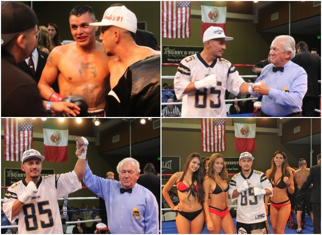 (photos, bottom, Adrian Vargas has his arm raised in victory by Hall of Fame referee Pat Russell. Photos: Jim Wyatt