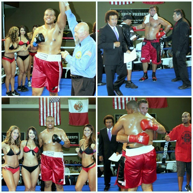 (top, left) Keishan Hill has his arm raised in victory by referee Jose Cobian.
