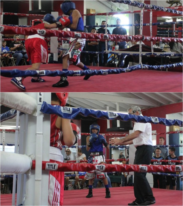 "Bout #2, it was 12 year-old Julius Ballo (89.4 lbs., 31-7) of the Bomber's Squad who trains at the RSD Boxing Club, Spring Valley gaining the tough victory over 13 year-old Julian Esteban ""The Mexican"" Rojas"