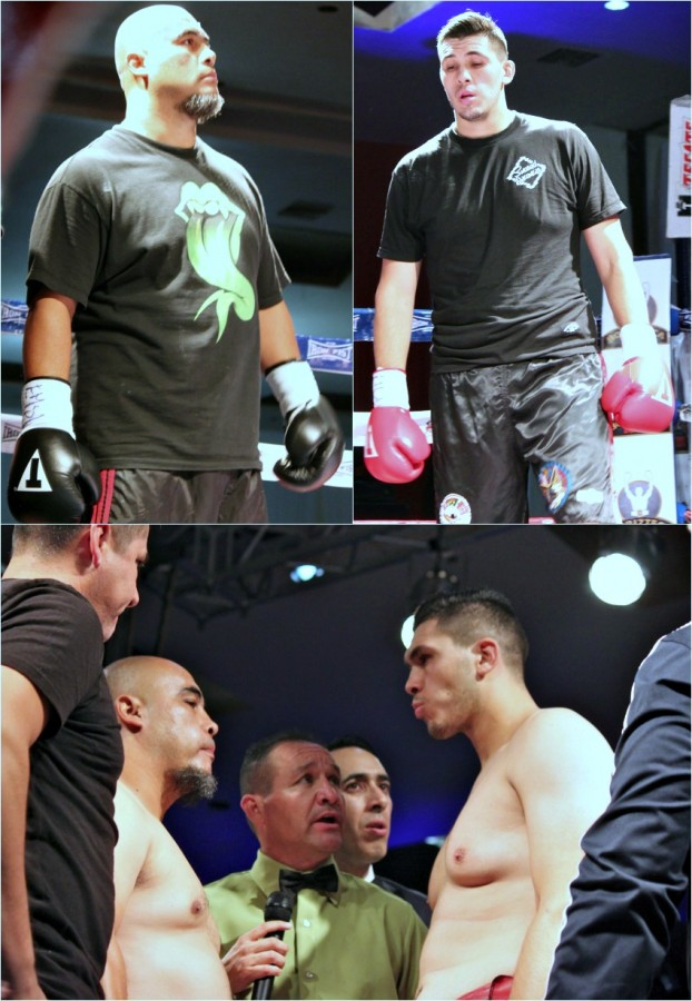 (bottom) Prior to the start of Bout #10, the evening's Main Event, Alexander Flores (r) and Roman Borquez meet in the center of the ring to listen to the final instructions from referee Fernando Renteria.