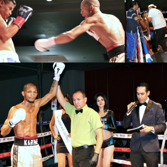 At the conclusion of Bout #8, it was having his arm raised in victory by referee Fernando Renteria.