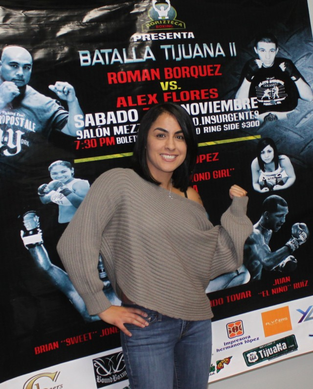 "It all started with a coy, ""Well, looky here, you see who's picture is on the banner, On Wednesday in Tijuana, Amaris ""Diamond Girl"" Quintana used her star power to promote the Saturday, November 7th boxing show at the Salon Mezzanine. All photos: Jim Wyatt"