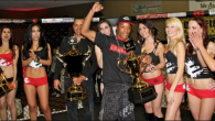 """From the archives comes this January 20, 2012, Epic Fighting 10 photo of Keith """"Danger"""" Carson receiving the """"Knockout of the Night"""" trophy after stopping Sean Najjar. After the show on Friday, they'll be celebrating their 30th in the series and you know that's going to be a blast. Photo: Jim Wyatt"""