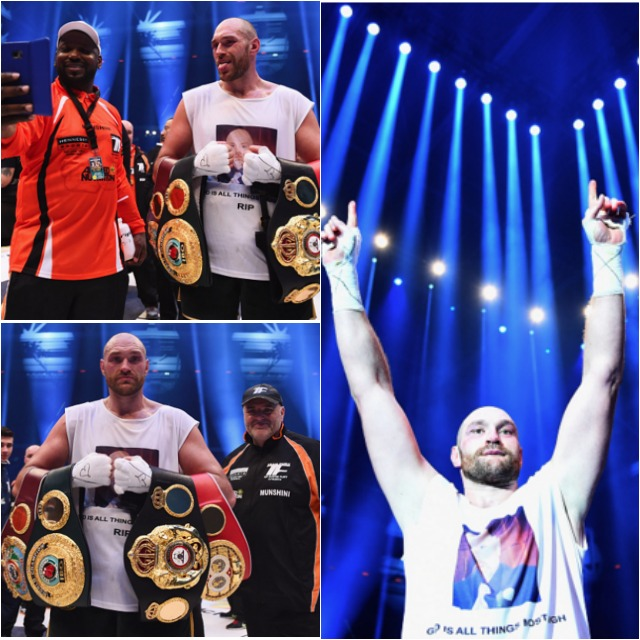 Tyson Fury celebrates with belts as he defeats Wladimir Klitschko to become new World Heavyweight Champion after the IBF IBO WBA WBO Heavyweight World Championship contest at Esprit-Arena on November 28, 2015 in Duesseldorf, Germany. (Photo by Lars Baron/Bongarts/Getty Images)