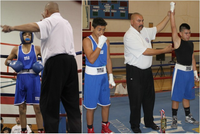 In Bout #1, it was 13 year-old Alejandro Mendoza (122.6 lbs., 1-0) of the House of Boxing, Paradise Hills, San Diego, Calif. going up against 13 year-old Martin Mota. Photo: Jim Wyatt
