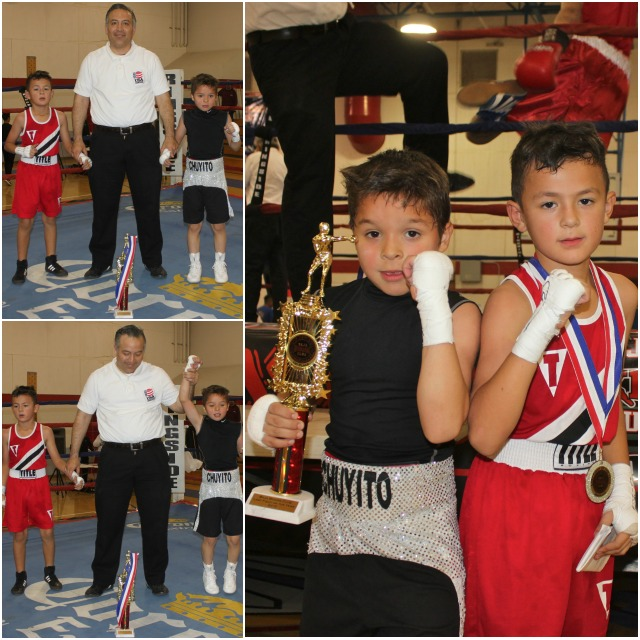 "In Bout #11, it was Jesse ""Chuyito"" Bojorquez of San Luis Youth Center (PAL Boxing Gym), San Luis, Arizona going up against 8 year-old Jahir Romo (61 lbs., 4 bouts) of Romo's Boxing, El Centro, CA."