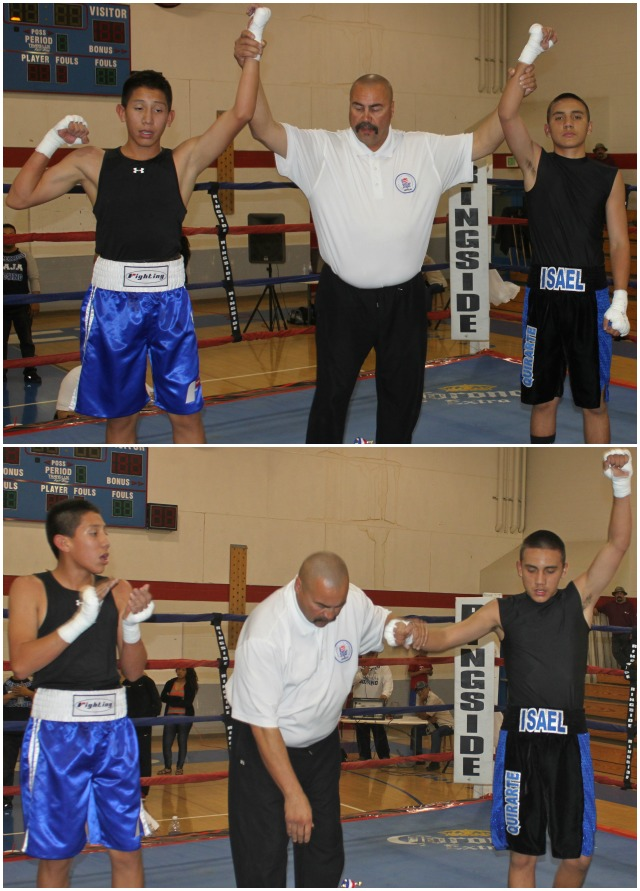 At the conclusion of Bout #13, it was In Bout #13, it was 14 year-old Israel Quirarte (126.2 lbs., 7 bouts) of Brawley's La Gente Boxing Club winning an all out battle against 13 year-old Anthony Cortez (126.4 lbs., 7 bouts) of the Indio Boys & Girls Club, Indio, Calif.