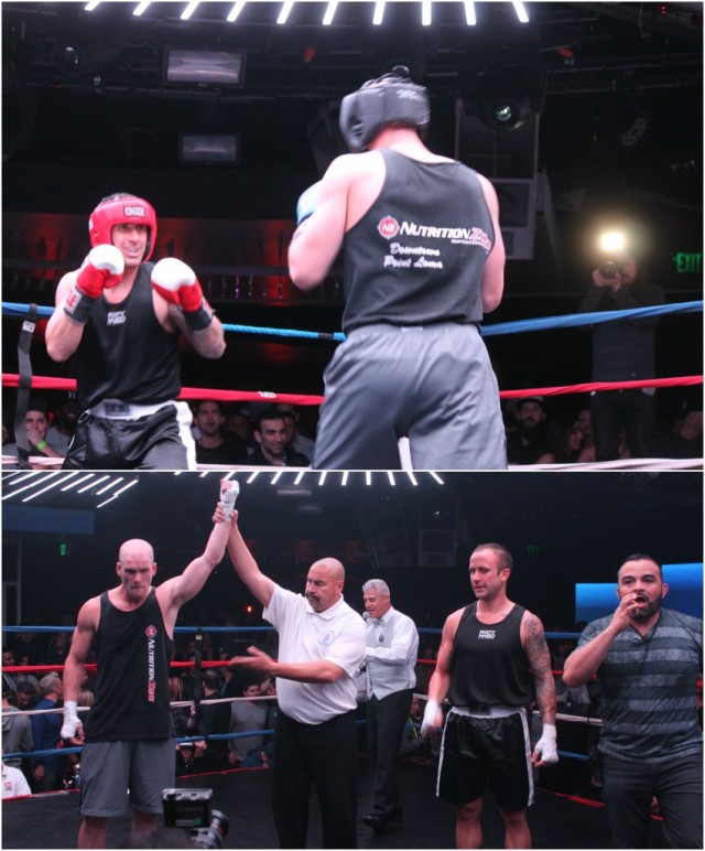 (bottom photo) At the conclusion of Bout #12 it was Peter Lemke (left) having his arm raised in victory after defeating the game Chad Frasier (right). All photos: Jim Wyatt