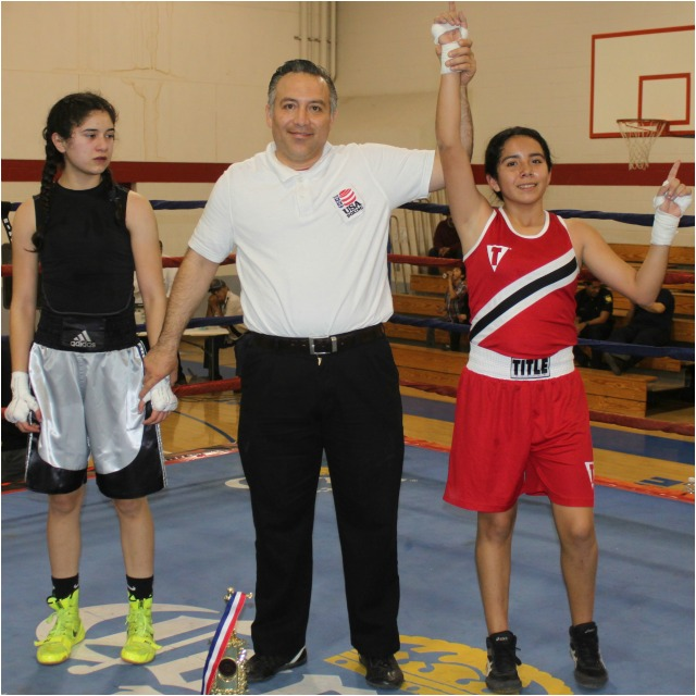 "At the conclusion of her bout against Karla Saldana referee Alberto ""Cookie"" Ramos"