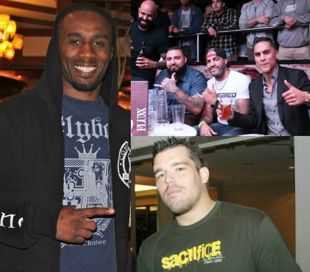 "(left) Dashon Johnson, (top right, r to l) Jorge ""Tito"" Ruiz, Nick Barnes, Jose Cital and friend; bottom right, Dean Lister"