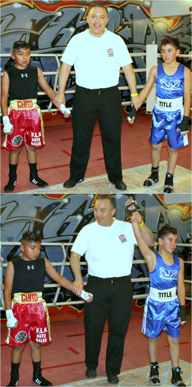 In Bout #6, they had 11 year-old Fernando Lopez (80 lbs., 4 bouts) of the Nevarez Boxing & Training Center, Vista, Calif. going up against 10 year-old Christian Rivera