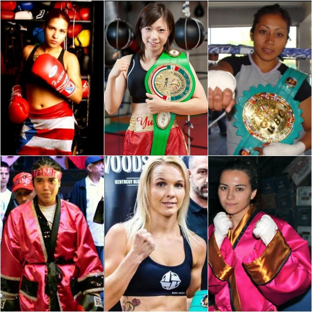 "Carolina Rodriguez, the first Chilean to win a world title, Tijuana flyweight Brenda Flores, Kenia Enriquez's undefeated sister, Tania, UBF super lightweight champion Melissa Hernandez (22-6-3) of Miami, Florida, WBA minimumweight champ Anabel Ortiz of Tepic, Nayarit, Mexico, Eva Wahlstroem, 136 ¾, the WBC World female super-featherweight champion, Tori ""Shu Nuff"" Nelson defended her WIBA welterweight title,"