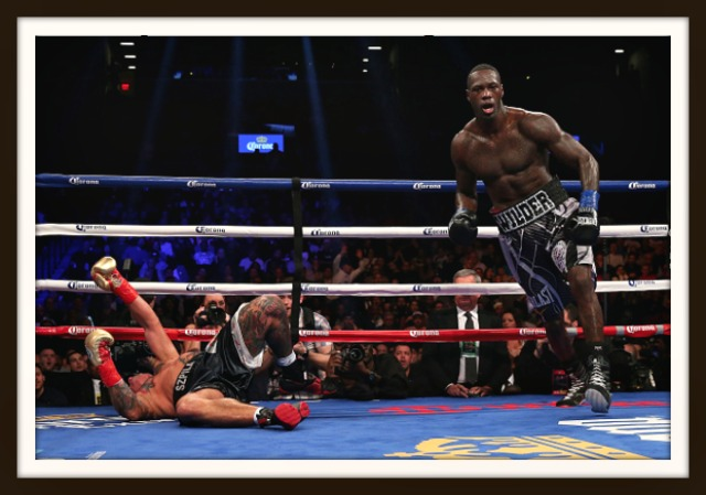 After landing a counter right hand, Deontay Wilder put Artur Szpilka on his back in the 9th round. Photo: Mike Stobe/Getty Images